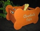 Custom Wooden Dog Toy Box Shape Bone Handles Distressed Calypso