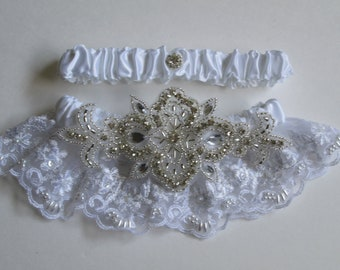 White Lace Wedding Garter Set, Bling Garters, Vintage Style Garter, Gatsby Garter with Pearls & Rhinestones