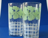 RESERVED FOR TAILSANDTAILS.....Two Mid Century Drinking Glasses.. Mint Green Irises