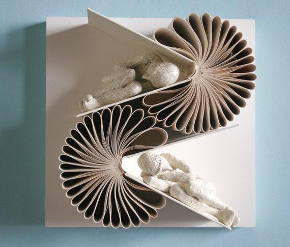 White on White Double Book Birdie (Original Sculpture)