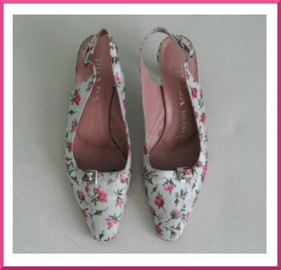 Vintage PRADA Floral Slingback Sandals Sz. 39 / 8.5