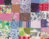 Fabric 50 Precut 1 1/4 Inch Square Pieces - Cotton Material 4 Postage Stamp - Charm Quilting Projects, Vintage Variety Pack - # 2006