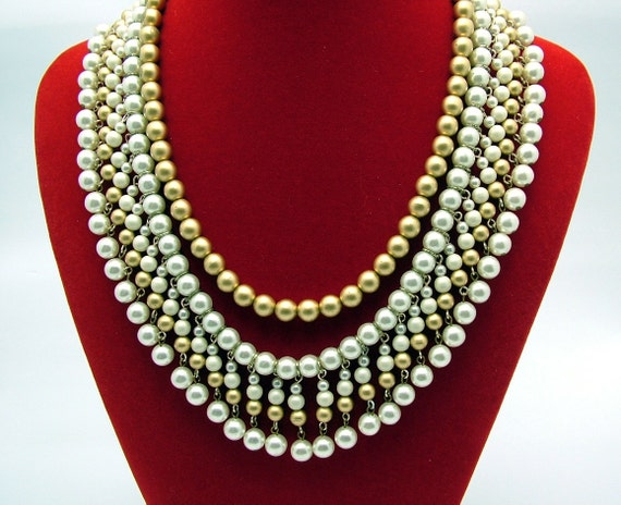 Vintage Faux Pearl Necklace Multi Strand Bib Style
