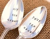 Hand Stamped Vintage Silverplate Ice Cream Spoons - my ice cream and your ice cream spoons Blithe Vintage Etsy