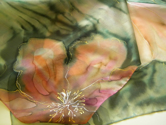Delicate poppies hand painted silk scarf. Sage green and pale coral pink. FREE tracked shipping worldwide