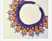 XOCHIL FUEGO  Mexican Huichol Hand-Beaded Tribal Collar Necklace with Silver Clasp