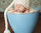 Newborn Elf Hat In Cream - Baby Girl Hat or Baby Boy Hat stocking cap beanie Great Photo Prop