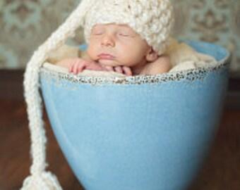 Newborn Elf Hat In Cream - Baby Girl Hat or Baby Boy Hat stocking cap beanie Great Photo Prop