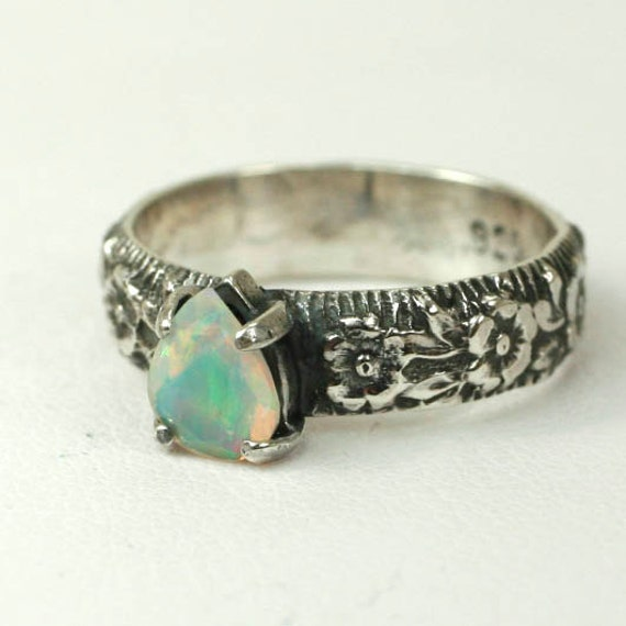 SALE Small Faceted Opal Ring with Flowered Band