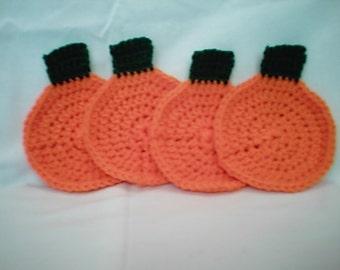 Crocheted Pumpkin Coaster Set