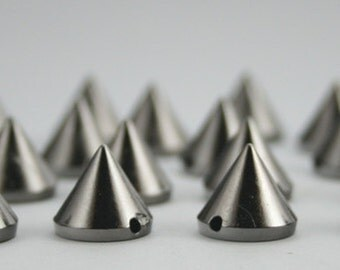 50 pcs. Acrylic Gunmetal Cone Spikes Beads Charms Pendants Decorations Findings 12 mm. CHB9