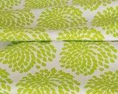 SALE  - 1 metre of Protea screen-printed fabric (fresh lime on unbleached hemp / organic cotton)