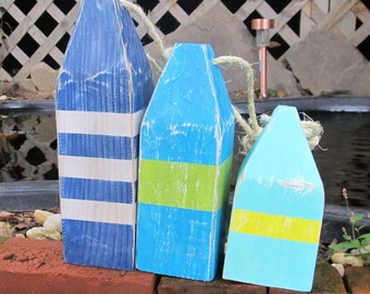 OOAK Set of 3 Reclaimed wood Buoys. Wooden buoys. Nautical Decor. Beach Decor. Made to Order
