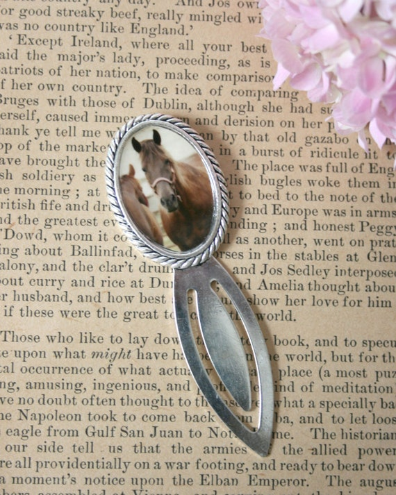 Metal Bookmark silver toned brown horse gift book read elegant sturdy