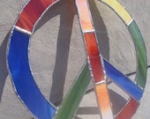 RESERVED for Heidi - Rainbow Patchwork Peace Sign Stained Glass Suncatcher