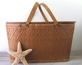 Large Wicker and Wood Picnic Basket by Redman