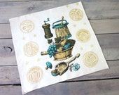 Kitsch Kitchen Linen Towel in Gold and Aqua