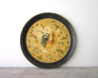 Vintage Paper Mache Round Tray with Rooster Chicken Design