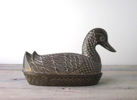 Brass Duck Figurine Box