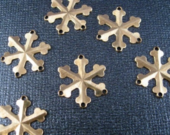 CHRISTMAS Snowflake 6 Brass Stampings Drilled to add Embellishments, Great Earring Finding 6 pieces