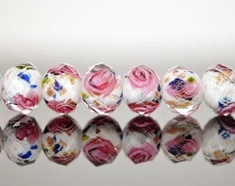 Lampwork Flower Glass Beads Faceted Rondelle Pink White 8x10mm  -(LL02-1) / 48Pcs