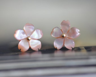 Pink Mother of Pearl Shell Sakura Flowers 10mm -(#V1029) /10pcs
