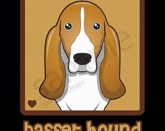 Basset Hound Cartoon Heart T-Shirt Tee - Men's, Women's Ladies, Short, Long Sleeve, Youth Kids