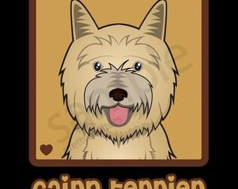 Cairn Terrier Cartoon Heart T-Shirt Tee - Men's, Women's Ladies, Short, Long Sleeve, Youth Kids