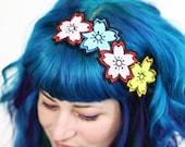 Cherry Blossom Headband, Sakura Headband, Japan Kawaii, Pink, blue & yellow