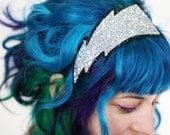 Lightning Bolt Headband, Adult Headband, Silver Glitter, Other Colours Available- Black FRiday Cyber Monday