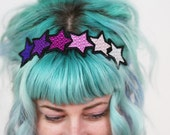 Pink Gradient Stars Headband,  Purple, Pink, Pale Pink, White