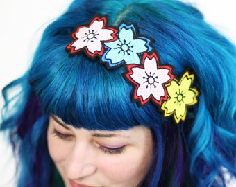 Cherry Blossom Headband, Sakura Headband, Japan Kawaii, Pink, blue & yellow