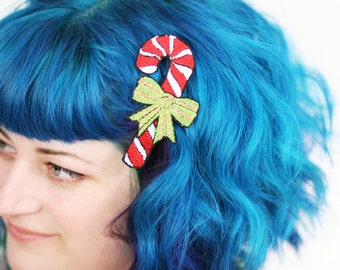 Candy Cane Hair Clip, Christmas Barrette, Kawaii, Red, White, Green and Gold