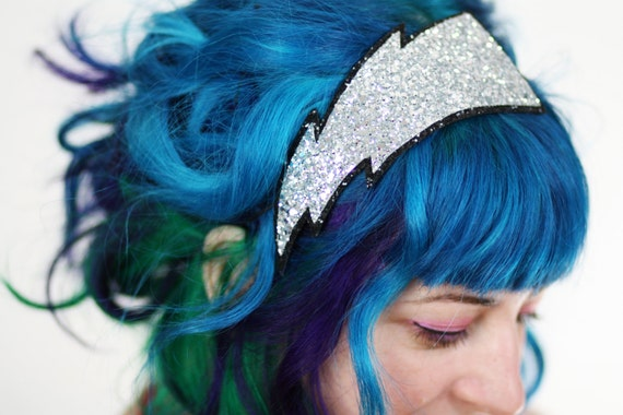 Lightning Bolt Headband, Adult Headband, Silver Glitter, Other Colours Available