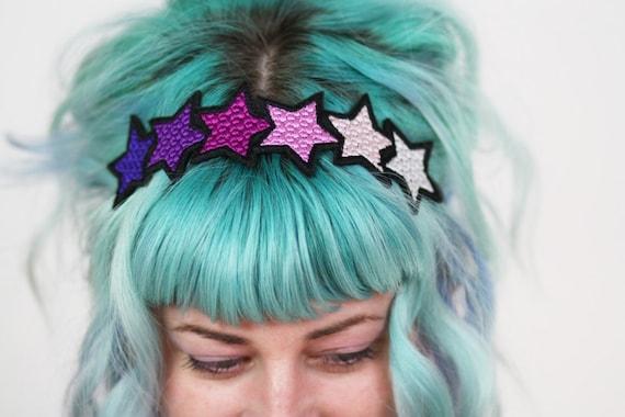 SALE - Pink Gradient Stars Headband,  Purple, Pink, Pale Pink, White - Christmas In July CIJ