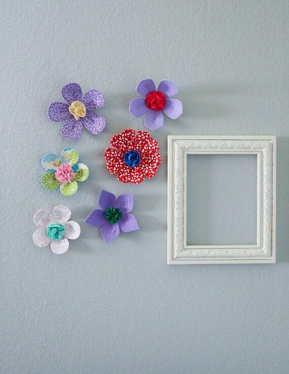 fabric wall flower. 3d wall art.  wall decor. fabric flower. lavender polka dot. sale- take 20% off