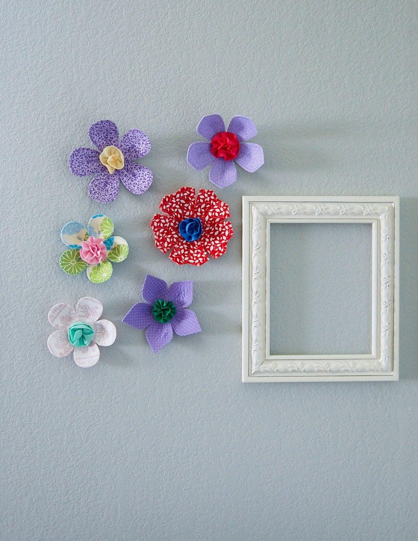 Fabric wall flower 3d wall art wall by leilasflowergarden for 3 d wall art