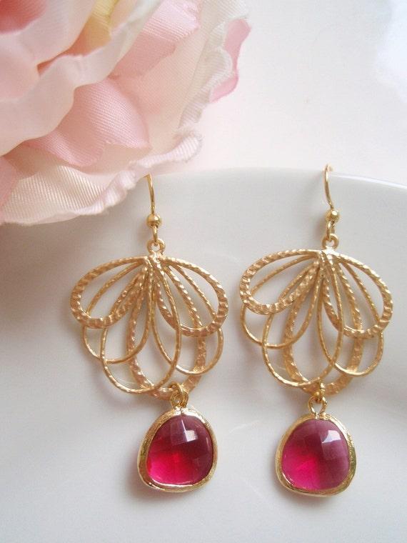 Gold Bohemian Fan - Fuchsia - Czech Glass Earrings