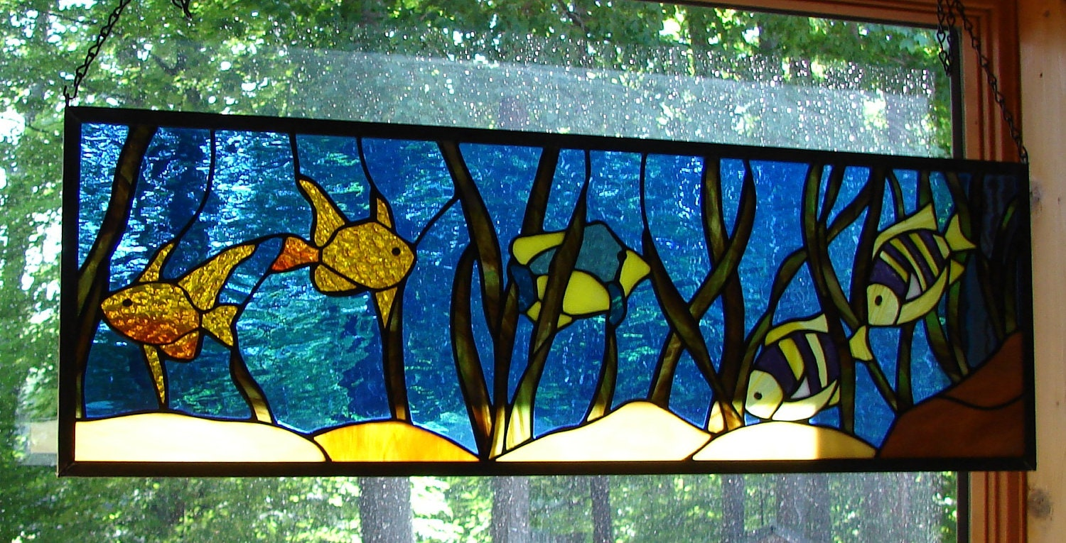 Items similar to tropical fish stained glass panel transom for Stained glass fish