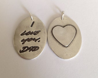 Memorial Jewelry  Double Sided Large Size Oval With Heart on Back-Your Actual Loved Ones Writing  Silver Pendant  - Made to order