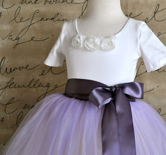 Girls pink or white leotard with white, ivory, blush or grey shabby chic chiffon pearl blossoms.