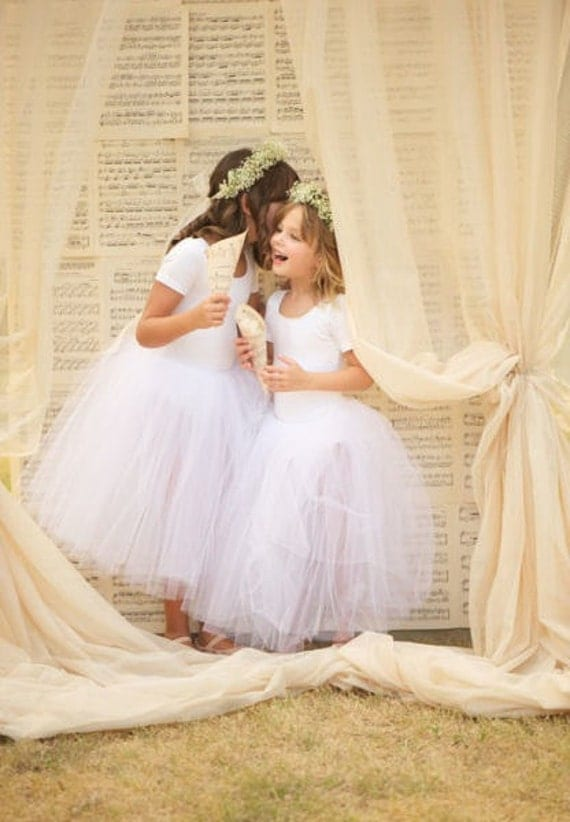 White long tutu for a Flower Girl or real princess. Available in several colors.