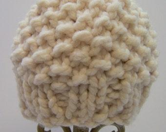 Chunky Knit Baby Boy Hat, Knit Baby Beanie, Knit Baby Girl Hat, Unisex Knit Baby Hat, Ecru Cream