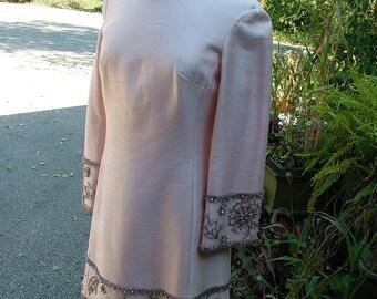 1960s Pink beaded british hong kong custom dress evening gown cocktail dress party dress
