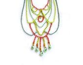Statement  Necklace, Neon Rhinestone Swarovski Lacy Bib Necklace - Mint, Coral red, Yellow