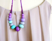 Mint Purple Statement Necklace, RESERVED, Handmade Polymer Clay Statement Jewelry