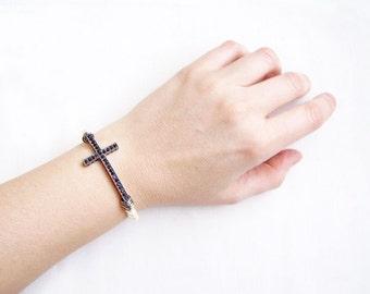 Black Sideways Cross Bracelet - Emerald, Pearl or Gunmetal Side Cross Bracelet