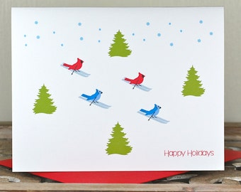 Christmas Cards, Holiday Card Sets , Cardinals, Blue Jays, Skiing, Handmade, Christmas Card Sets, Christmas Tree, Snow