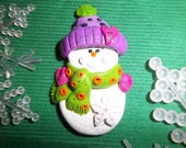 Polymer Clay Snowman Pin or Small Ornament