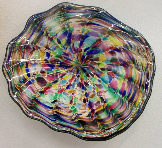 Blown Glass Wall Decor : Beautiful hand blown glass art wall platter bowl purple blue